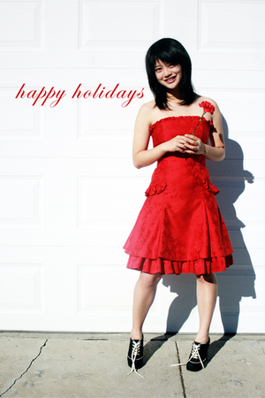 red Jessica McClintock dress - black ForLove21 shoes