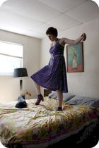 purple vintage dress - purple UO socks - brown Jeffrey Campbell shoes - gold UO