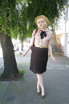 nude tie neck ArynK blouse - light brown Urban Outfitters hat