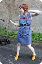 blue Dainty June dress - gold Matiko shoes