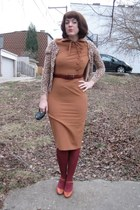 bettie page dress - Gap cardigan - Pink Studio shoes - modcloth tights - Gabes b