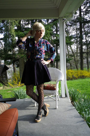 black Jeffrey Campbell shoes - black Urban Outfitters tights - navy vintage blou