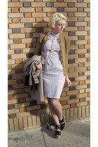white vintage dress - camel old lady brand cardigan - black Jeffrey Campbell hee