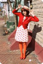 vintage cardigan - Tulle dress - modcloth tights - ophelie hats hat - Pink Studi