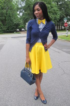 yellow custom made skirt - navy vintage bag - navy basic cardigan