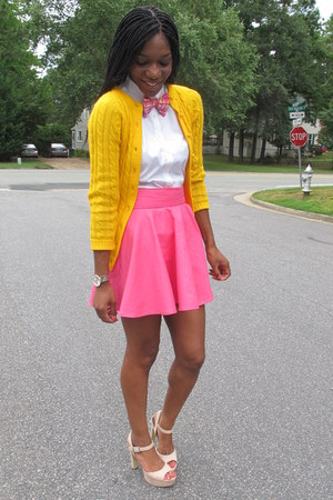 hot pink custom made skirt - yellow thrifted vintage cardigan