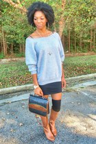 heather gray thrifted sweatshirt - brown thrifted vintage purse