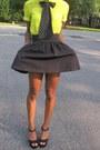 Lime-green-blouse-black-skirt