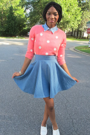 bubble gum Forever 21 sweater - periwinkle denim thrifted shirt