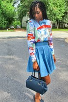 navy thrifted vintage bag - sky blue thrifted vintage blouse