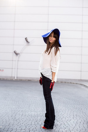 blue wool H&M hat - navy flared Mango jeans - black studded Zara bag