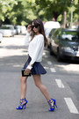 Black-pvc-metal-chanel-bag-navy-leather-ruffles-zara-skirt