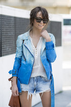 blue Walter Baker jacket - light blue Zara shorts - off white sheer Mango top