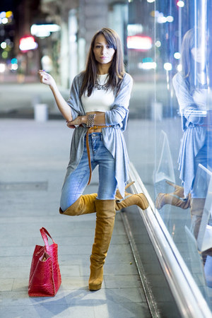sky blue high waisted Mango jeans - tawny over the knee Cizme de Piele boots