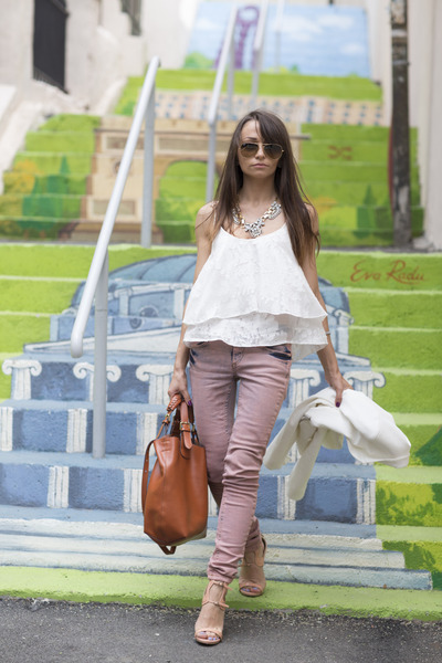 pink BSB jeans - tawny leather Zara bag - neutral nude Ray Ban sunglasses