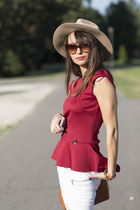 ruby red peplum bsb fashion top - white biker Zara jeans