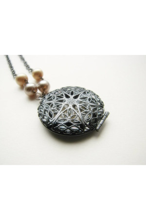 heather gray Locket necklace