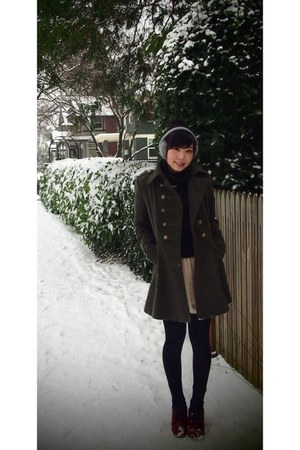 dark green Forever 21 coat - Fossil boots - cream lace H&M dress