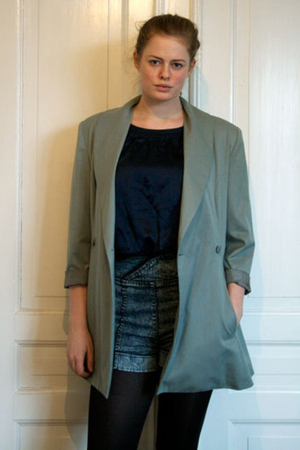 green vintage blazer - blue rosemunte blouse - blue DrDenim shorts - black H&M s