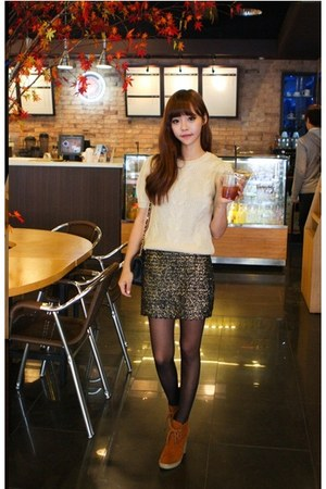 dark khaki skirt - tawny boots - black chanel bag - eggshell hosi blouse
