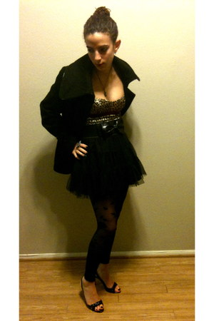 black pea coat Miss Sixty coat - black Express tights - black tutu Brow NY skirt
