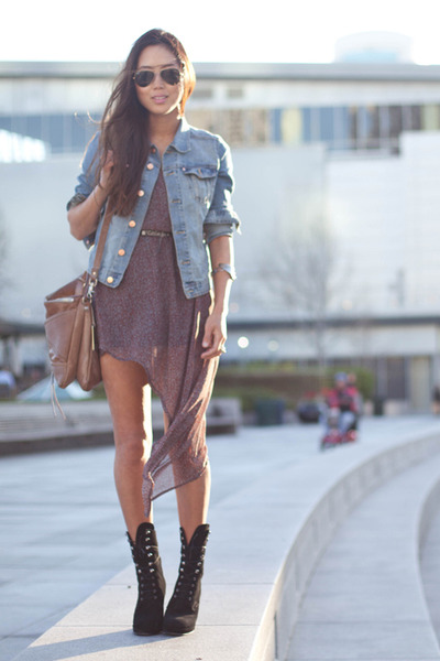 denim jacket with dress. threadsence dress - denim Hamp;M