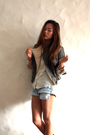 Green-forever-21-jacket-white-christian-dior-shirt-blue-levis-shorts