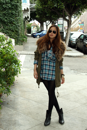green f21 jacket - blue H&M shirt - black boots