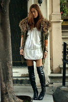 white vintage dress - black Jessica Simpson boots - green Forever 21  H&M jacket
