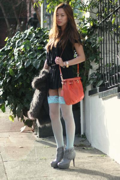 blue socks - silver boots - black dress - pink accessories