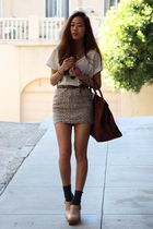 beige giraffe print skirt - beige clogs Jeffrey Campbell shoes