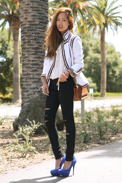 white tweed jacket Chanel jacket - black slashed skinny Anarchy Street jeans