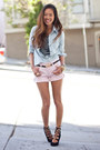 Sky-blue-denim-banana-republic-shirt-pink-pink-banana-republic-shorts-black-