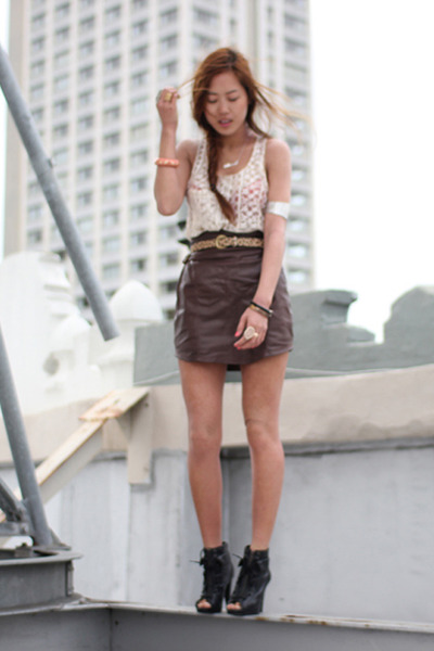 Brown Society For Rational Dress Leather Skirt Skirt | Chictopia