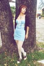 beige f21 shoes - sky blue Zara dress - black lace thrifted jacket - white dotte