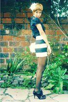 white H&M accessories - black thrift blouse - black gift skirt - white thrift ba