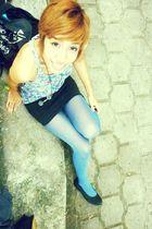 blue Zara shirt - black Bershka skirt - blue thrifted tights - black thrifted sh