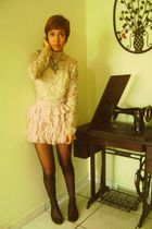 beige thrifted shirt - pink Zara skirt - black thrifted tights - black Bershka s