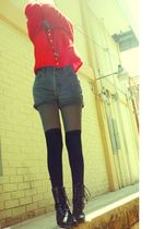 red moms sweater - gray thrift shorts - gray thrift tights - black Bershka socks