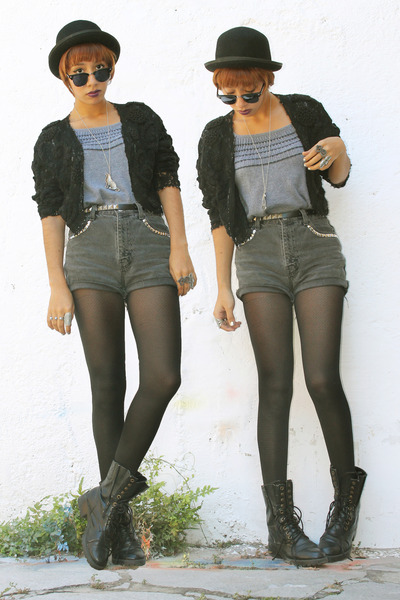 black 3 thrifted boots - black f21 hat - charcoal gray DIY shorts