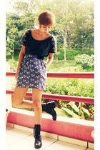 black Zara shirt - blue Zara skirt - black thrifted boots