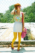 hot pink Zara shoes - yellow f21 tights - hot pink f21 bag - heather gray 1 thri