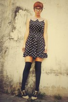 cream f21 shoes - black 1 thrift dress - black Bershka stockings - cream sale Za