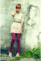 pink Zara skirt - beige bf gift shoes - beige thrift shirt