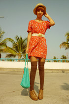 red 1 thrifted dress - mustard Bershka hat - gold 1 thrifted belt - dark brown B