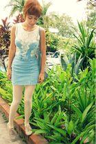 white moms shirt - blue Zara dress - beige thrift tights - beige gift shoes