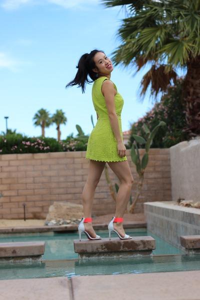 lime green Topshop dress - hot pink H&M sandals
