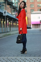 red Zara coat - black leather Joie boots - navy skinny William Rast jeans