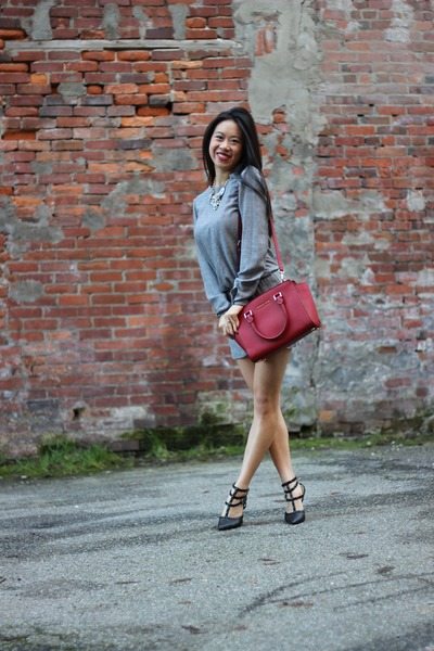 red selma Michael Kors bag - heather gray Zara dress - silver kensie coat