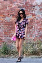 black sahara Shoedazzle heels - hot pink cross body Merona for Target bag